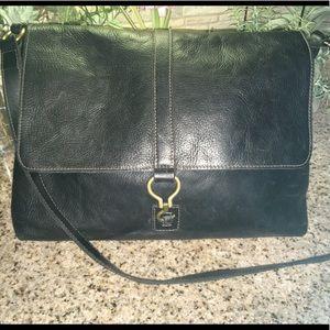 Lauren Black Pebble Leather Hook Tote Bag